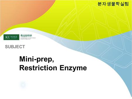 Mini-prep, Restriction Enzyme 분자생물학실험 SUBJECT. Sequence blast Restriction enzyme Mini-prep E.coli transformation TA Ligation PCR DNA EXTRACTION 분자생물학실험.