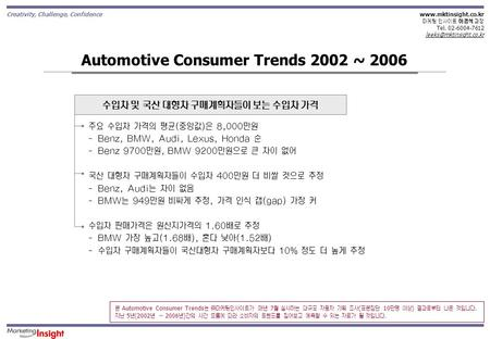 Creativity, Challenge, Confidence  마케팅 인사이트 이경석 과장 Tel. 02-6004-7612 Automotive Consumer Trends 2002 ~ 2006.