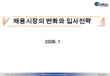 © 2006 Amkor Technology Korea, Inc.Amkor Proprietary Business Information 연월, USER ID 2006. 1 채용시장의 변화와 입사전략.