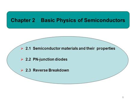 1 Chapter 2 Basic Physics of Semiconductors  2.1 Semiconductor materials and their properties  2.2 PN-junction diodes  2.3 Reverse Breakdown.