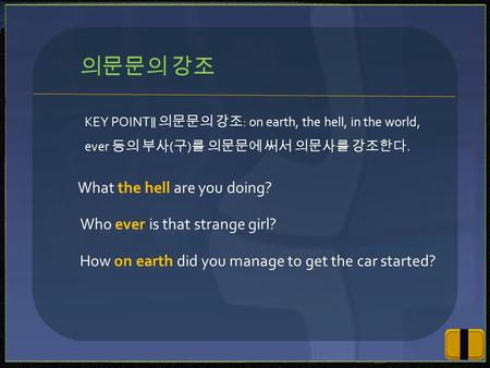 KEY POINT ∥ 의문문의 강조 : on earth, the hell, in the world, ever 등의 부사 ( 구 ) 를 의문문에 써서 의문사를 강조한다. 의문문의 강조 What the hell are you doing? Who ever is that strange.