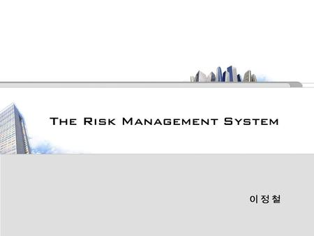 The Risk Management System 이 정 철 이 정 철. 목 차  INTORDUCTION --------------------------- 45  DEVELOPING A RISK MANAGEMENT FRAMEWORK ----- 46  RISK IDENTIFICATION.