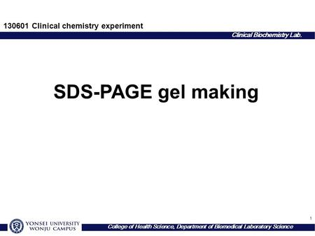 1 Clinical Biochemistry Lab. College of Health Science, Department of Biomedical Laboratory Science SDS-PAGE gel making Clinical chemistry experiment.