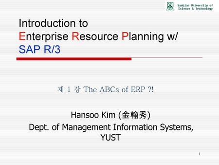 Introduction to Enterprise Resource Planning w/ SAP R/3