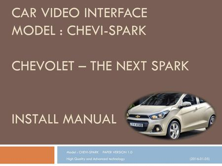 Model : CHEVI-SPARK    PAPER VERSION 1.0