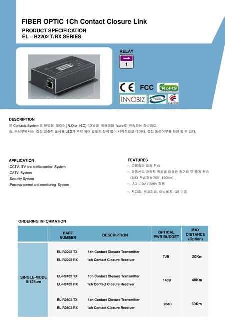FIBER OPTIC 1Ch Contact Closure Link