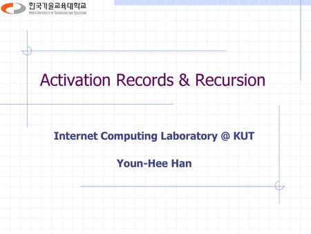 Activation Records & Recursion