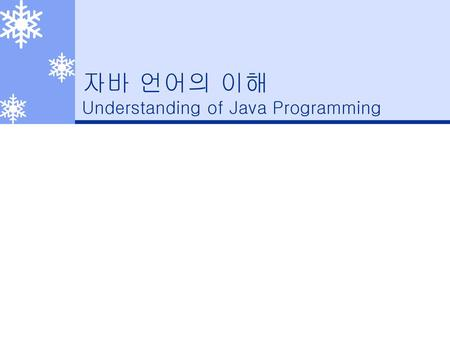 자바 언어의 이해 Understanding of Java Programming