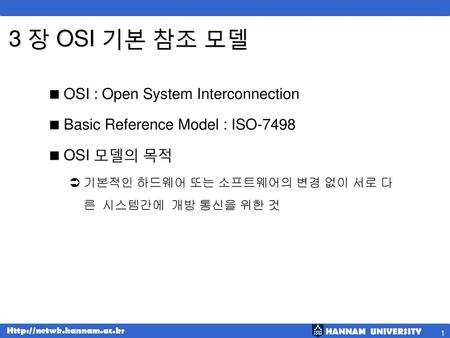3 장 OSI 기본 참조 모델 OSI : Open System Interconnection