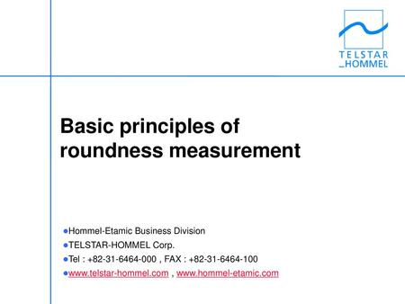 Basic principles of roundness measurement
