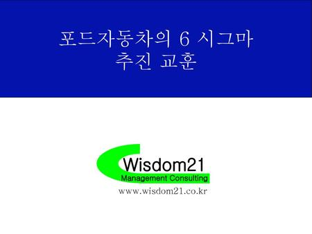 포드자동차의 6 시그마 추진 교훈 Wisdom21 Management Consulting www.wisdom21.co.kr.