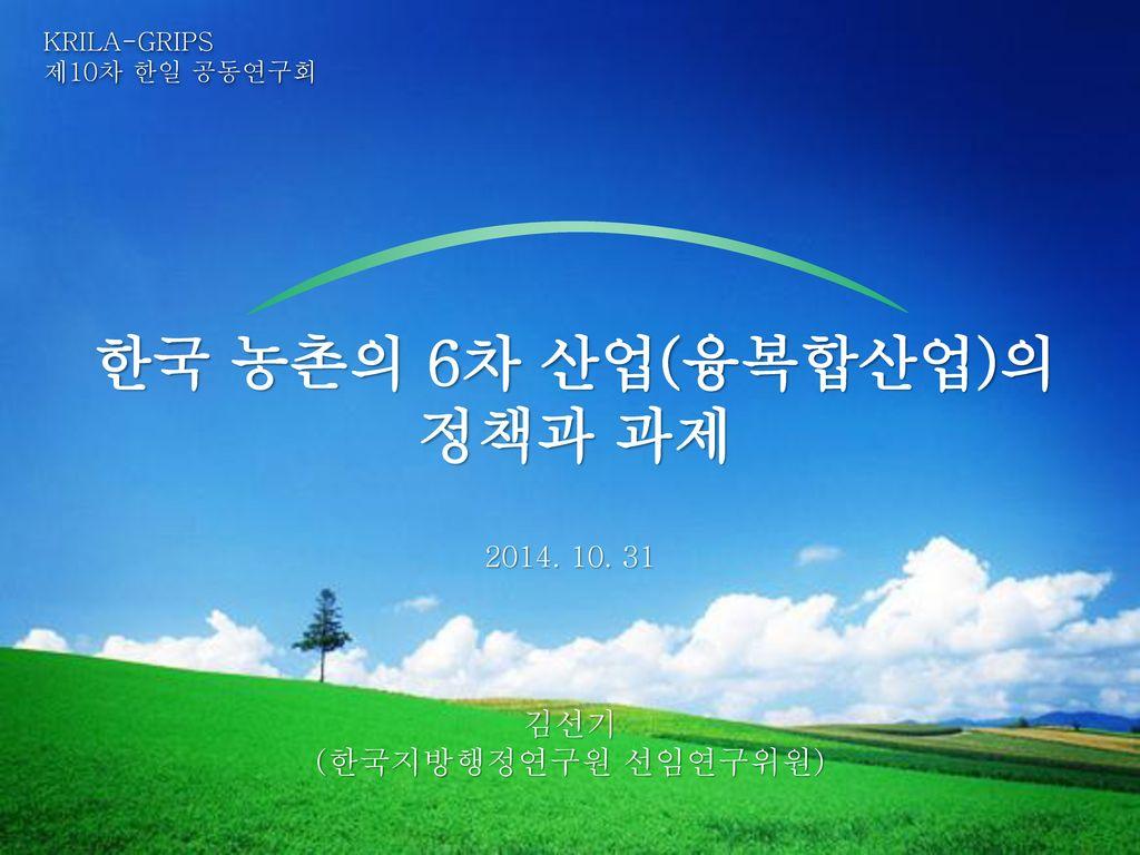 한국 농촌의 6차 산업(융복합산업)의 정책과 과제
