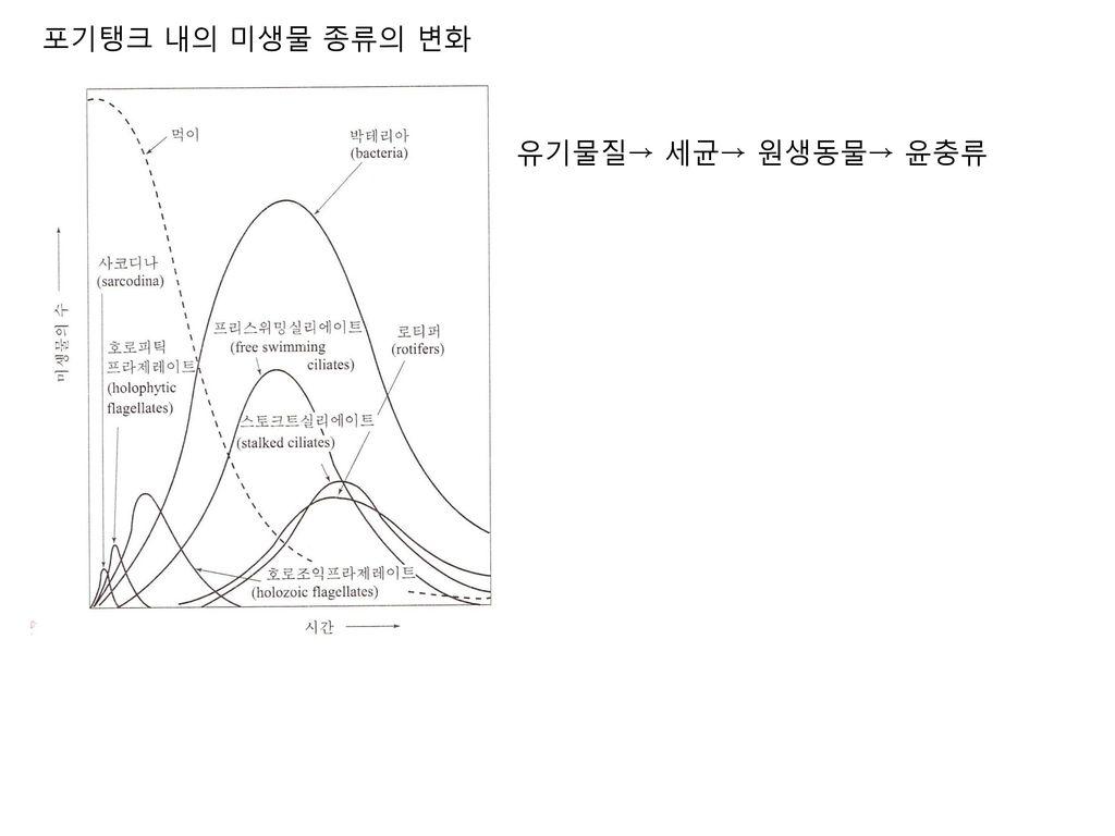 포기탱크 내의 미생물 종류의 변화 유기물질→ 세균→ 원생동물→ 윤충류