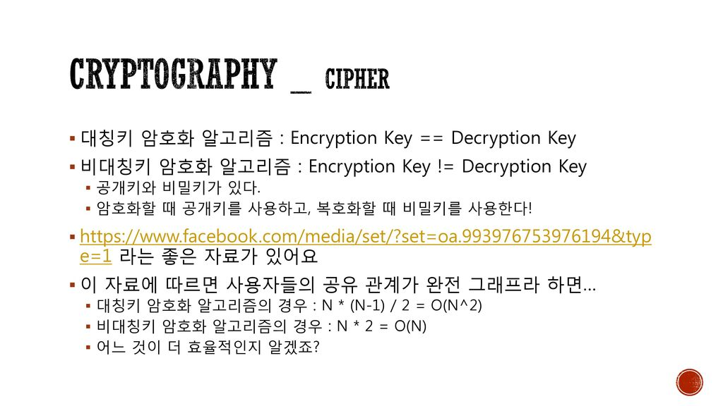 Cryptography _ cipher 대칭키 암호화 알고리즘 : Encryption Key == Decryption Key