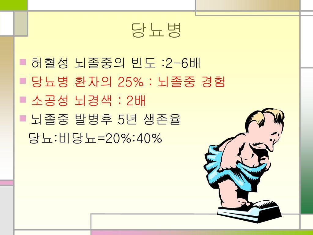 당뇨병 허혈성 뇌졸중의 빈도 :2-6배 당뇨병 환자의 25% : 뇌졸중 경험 소공성 뇌경색 : 2배 뇌졸중 발병후 5년 생존율