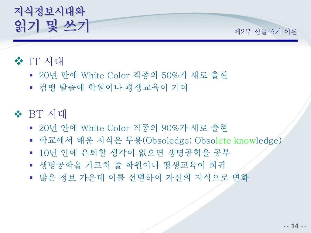 IT 시대 지식정보시대와 읽기 및 쓰기 BT 시대 20년 만에 White Color 직종의 50%가 새로 출현