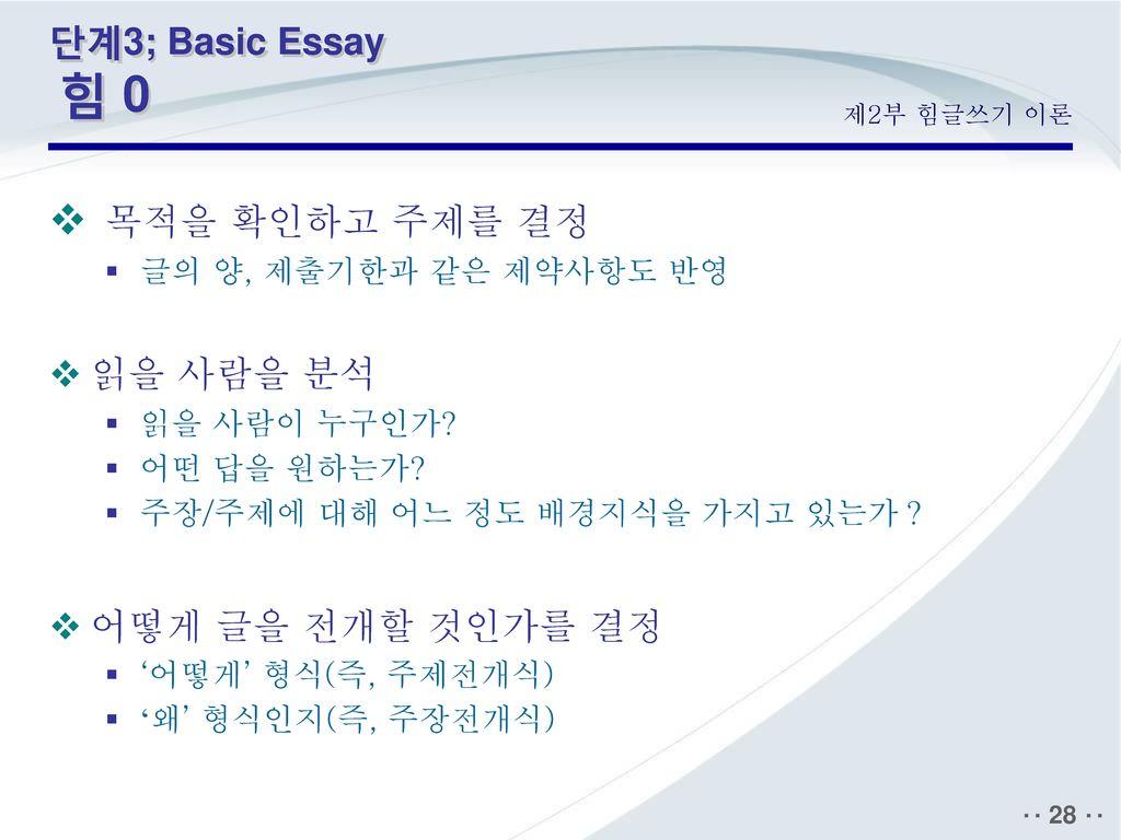 목적을 확인하고 주제를 결정 단계3; Basic Essay 힘 0 읽을 사람을 분석 어떻게 글을 전개할 것인가를 결정