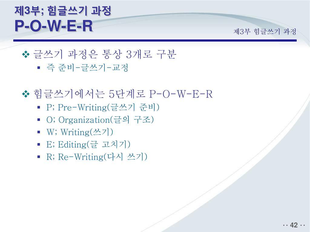 제3부; 힘글쓰기 과정 P-O-W-E-R 글쓰기 과정은 통상 3개로 구분 힘글쓰기에서는 5단계로 P-O-W-E-R