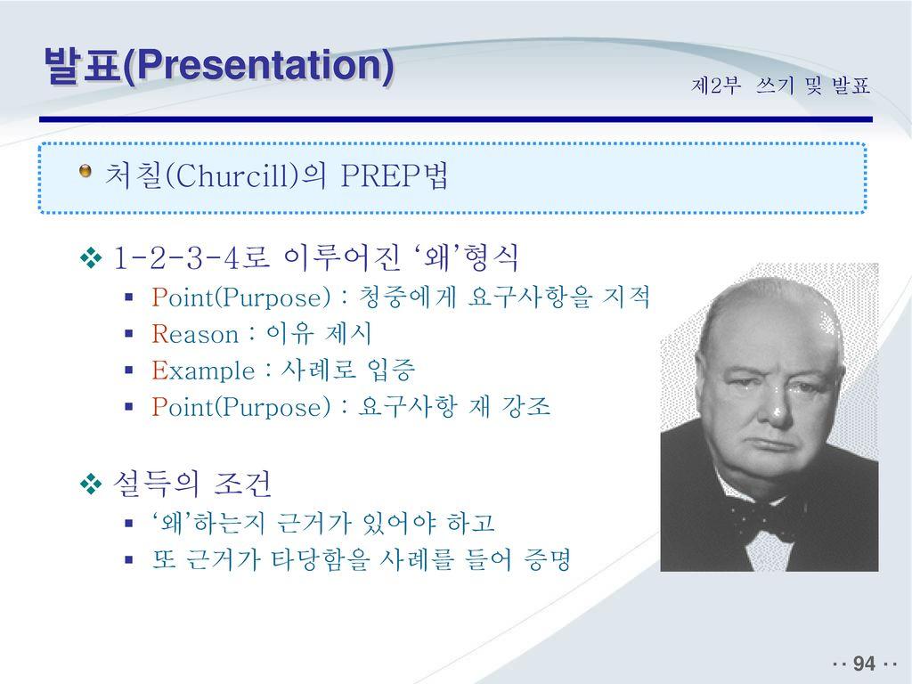 발표(Presentation) 처칠(Churcill)의 PREP법 1-2-3-4로 이루어진 '왜'형식 설득의 조건