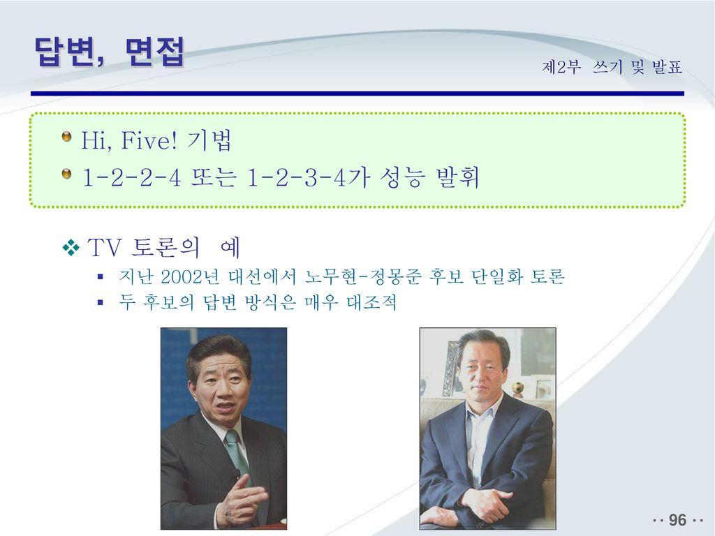 답변, 면접 Hi, Five! 기법 1-2-2-4 또는 1-2-3-4가 성능 발휘 TV 토론의 예