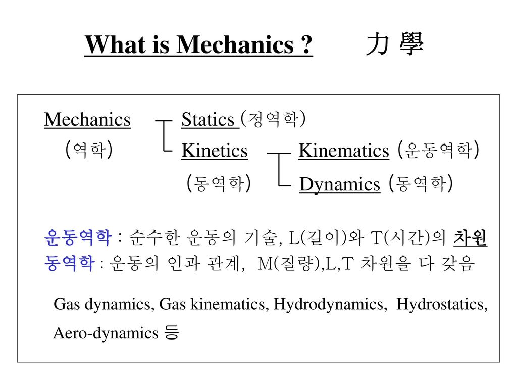What is Mechanics 力 學 Mechanics Statics (정역학)