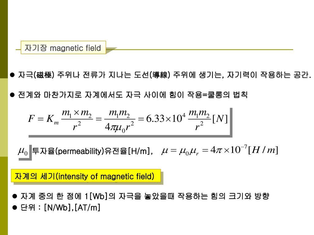 자기장 magnetic field 자극(磁極) 주위나 전류가 지나는 도선(導線) 주위에 생기는, 자기력이 작용하는 공간. 전계와 마찬가지로 자계에서도 자극 사이에 힘이 작용=쿨롱의 법칙.