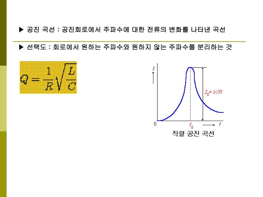 ▶ 공진 곡선 : 공진회로에서 주파수에 대한 전류의 변화를 나타낸 곡선