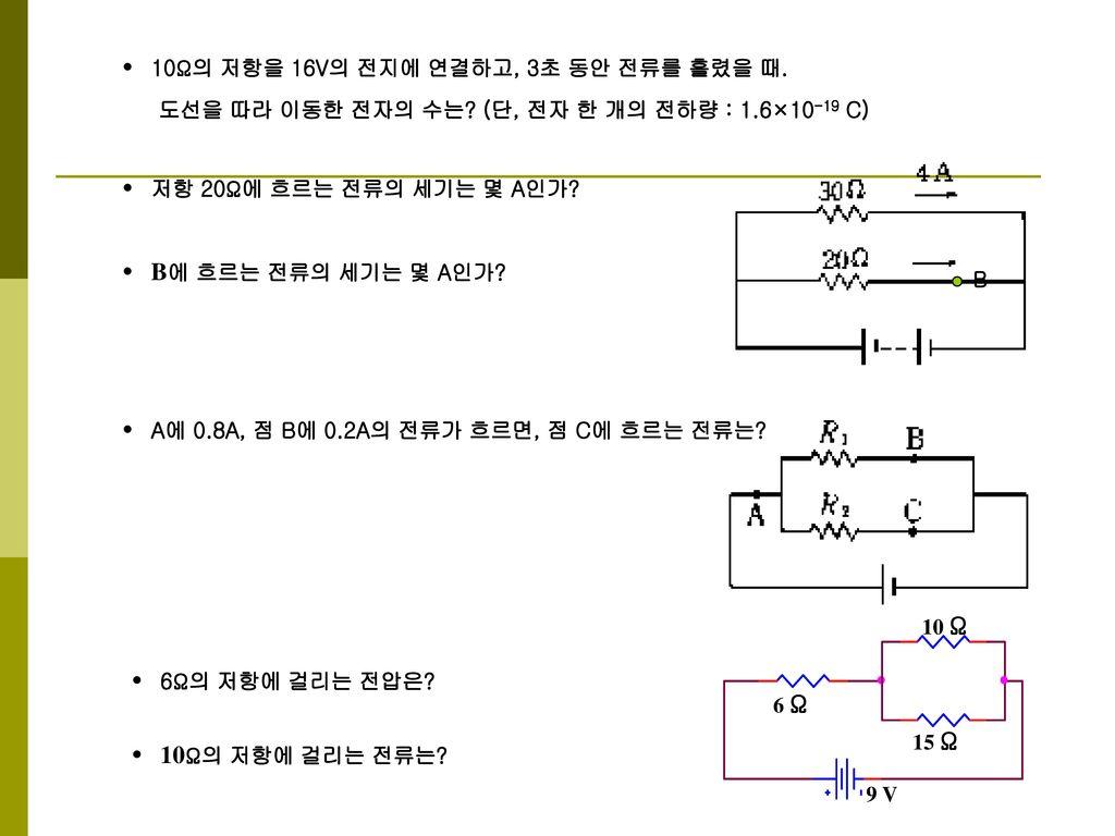 • 10Ω의 저항을 16V의 전지에 연결하고, 3초 동안 전류를 흘렸을 때.