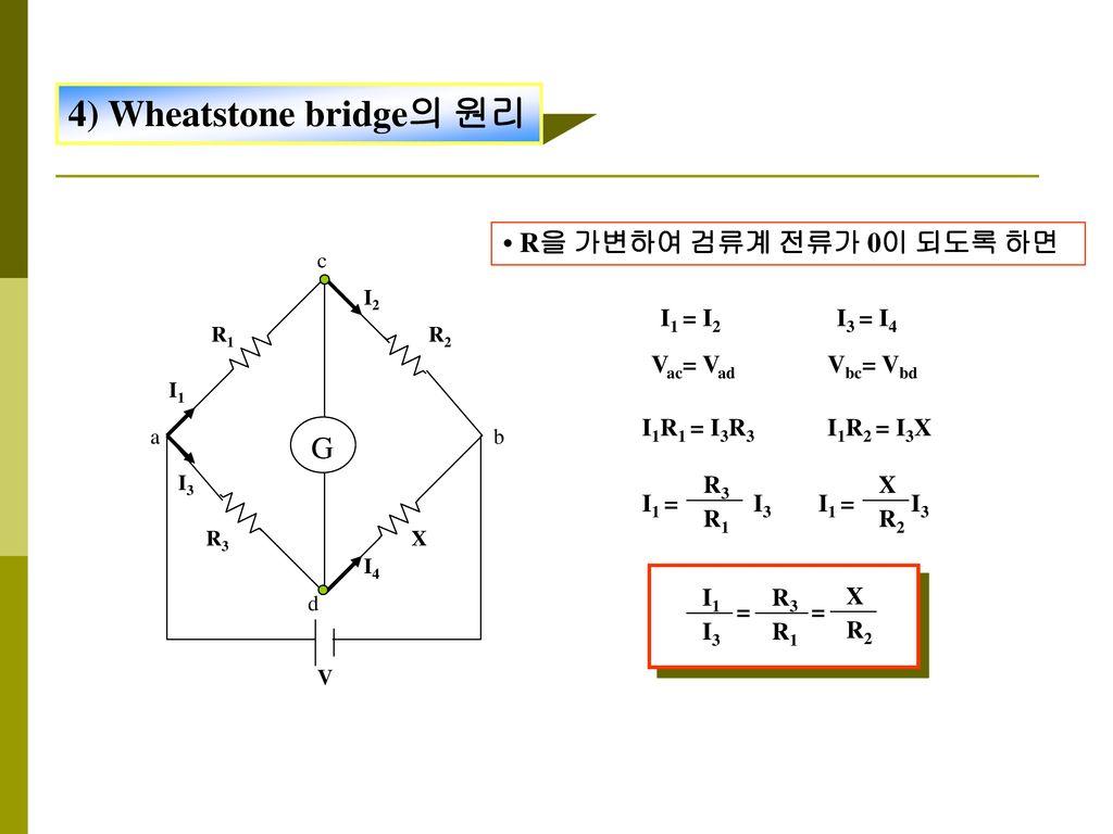 4) Wheatstone bridge의 원리