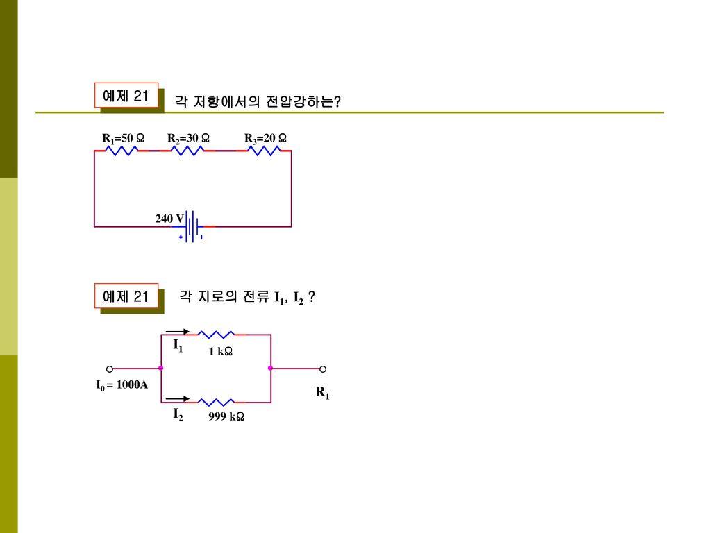 예제 21 각 저항에서의 전압강하는 예제 21 각 지로의 전류 I1, I2 I1 R1 I2 R1=50 Ω R2=30 Ω