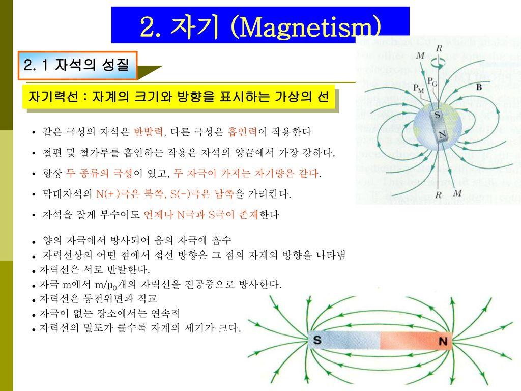 2. 자기 (Magnetism) 2. 1 자석의 성질 자기력선 : 자계의 크기와 방향을 표시하는 가상의 선