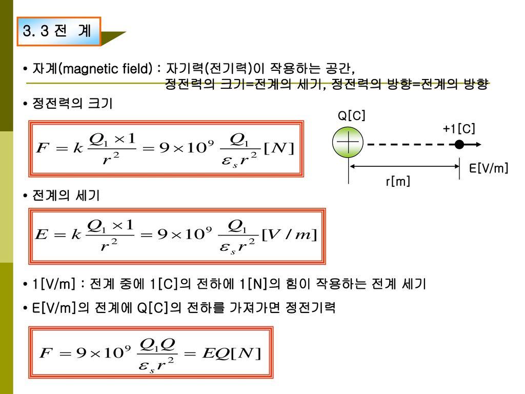 3. 3 전 계 • 자계(magnetic field) : 자기력(전기력)이 작용하는 공간,
