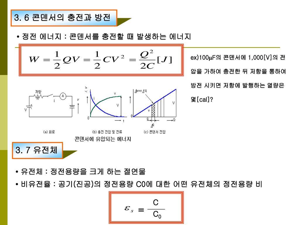 = 3. 6 콘덴서의 충전과 방전 3. 7 유전체 • 정전 에너지 : 콘덴서를 충전할 때 발생하는 에너지