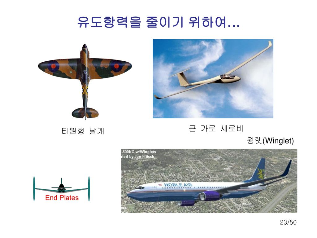 유도항력을 줄이기 위하여… 큰 가로 세로비 타원형 날개 윙렛(Winglet)