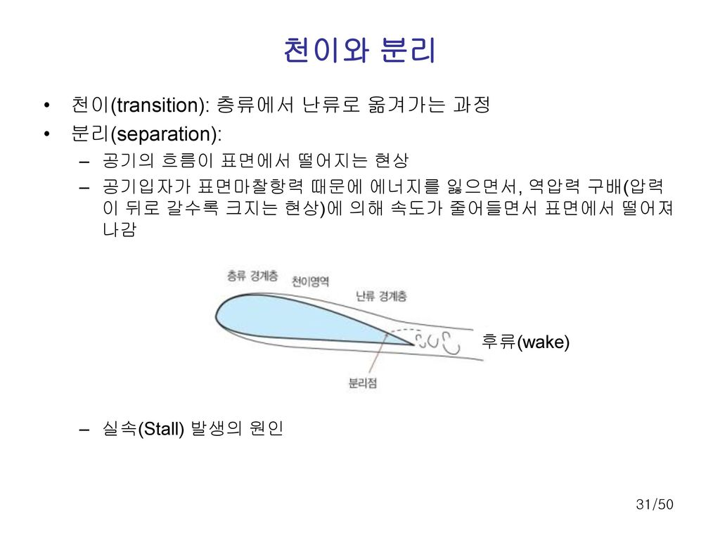 천이와 분리 천이(transition): 층류에서 난류로 옮겨가는 과정 분리(separation):