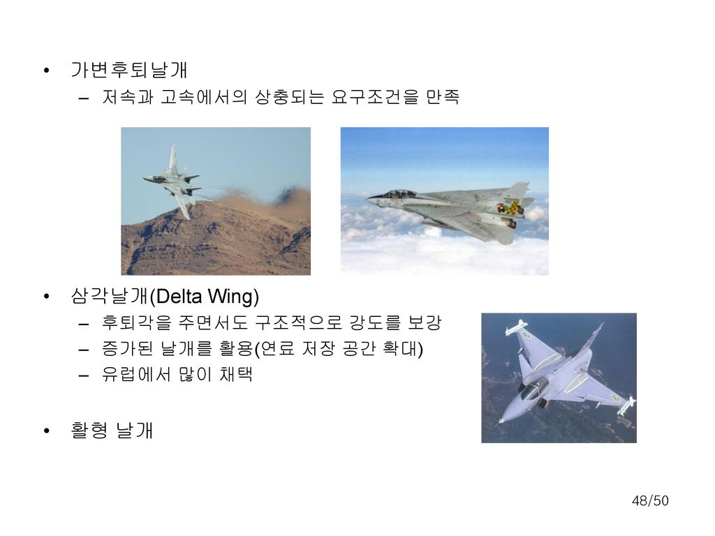 가변후퇴날개 삼각날개(Delta Wing) 활형 날개 저속과 고속에서의 상충되는 요구조건을 만족