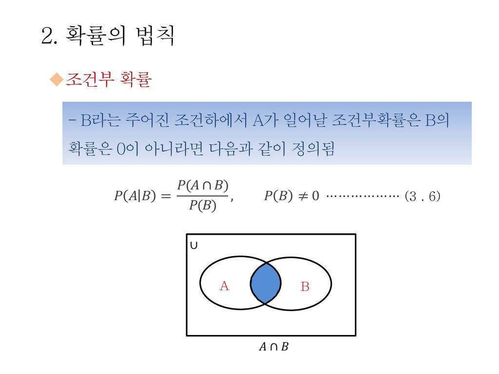 2. 확률의 법칙 조건부 확률 - B라는 주어진 조건하에서 A가 일어날 조건부확률은 B의 확률은 0이 아니라면 다음과 같이 정의됨 ……………… (3 . 6) ∪ A B 𝐴∩𝐵