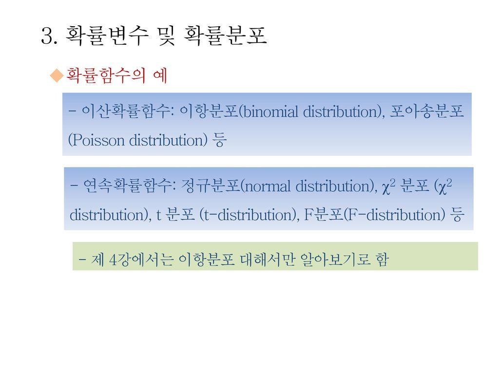 3. 확률변수 및 확률분포 확률함수의 예. - 이산확률함수: 이항분포(binomial distribution), 포아송분포 (Poisson distribution) 등.