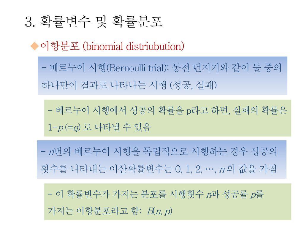 3. 확률변수 및 확률분포 이항분포 (binomial distriubution)