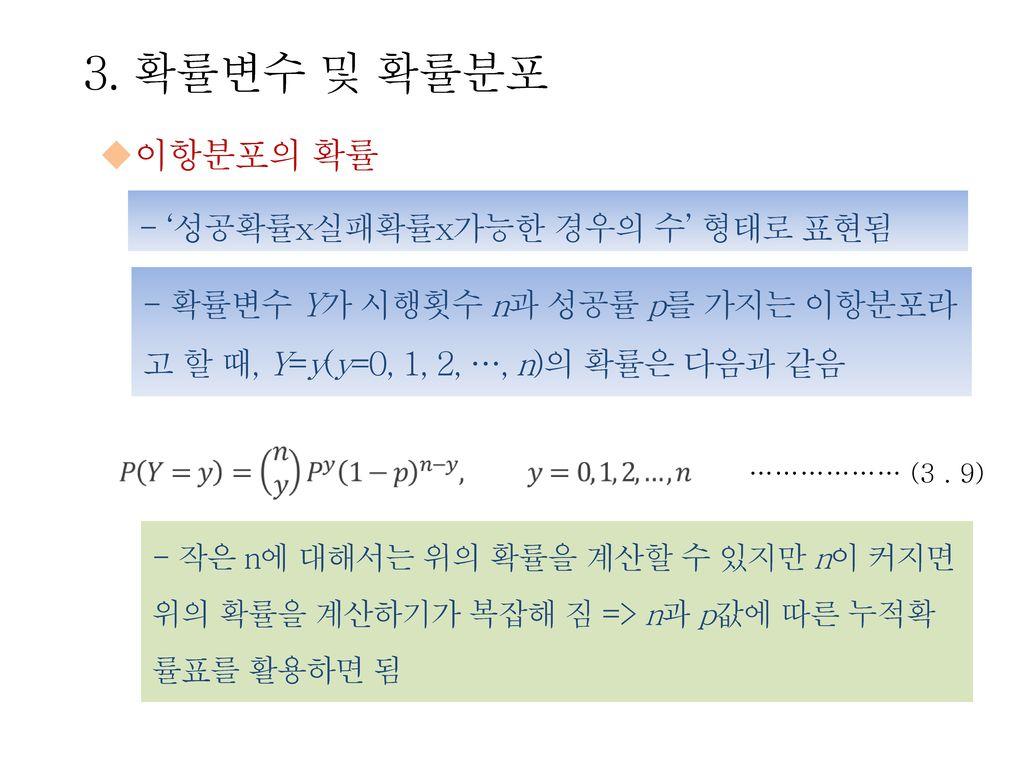 3. 확률변수 및 확률분포 이항분포의 확률 - '성공확률x실패확률x가능한 경우의 수' 형태로 표현됨