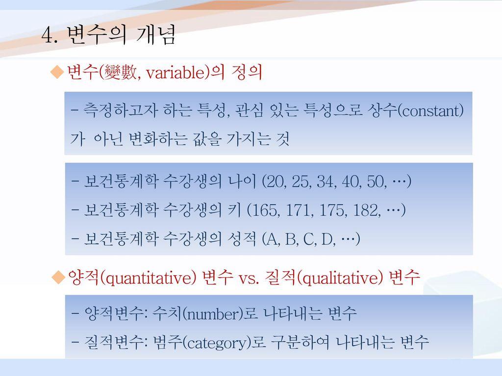 4. 변수의 개념 변수(變數, variable)의 정의