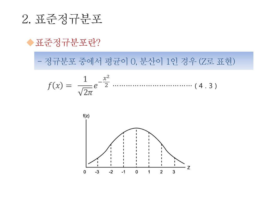2. 표준정규분포 표준정규분포란 - 정규분포 중에서 평균이 0, 분산이 1인 경우 (Z로 표현)