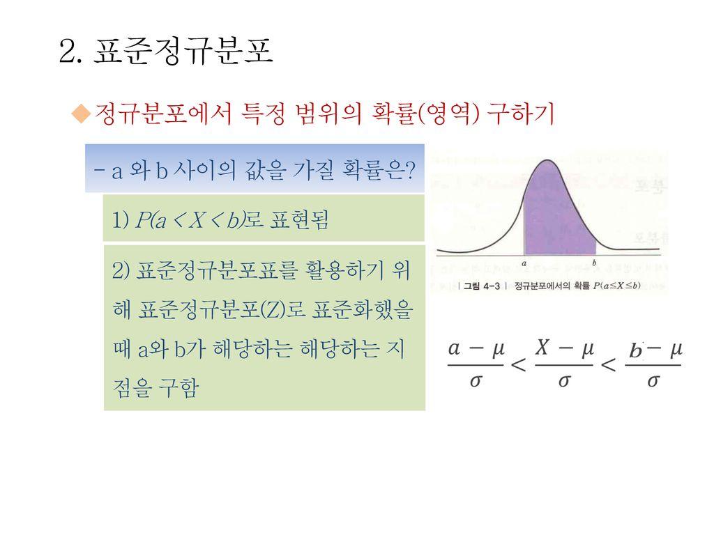 2. 표준정규분포 정규분포에서 특정 범위의 확률(영역) 구하기 - a 와 b 사이의 값을 가질 확률은