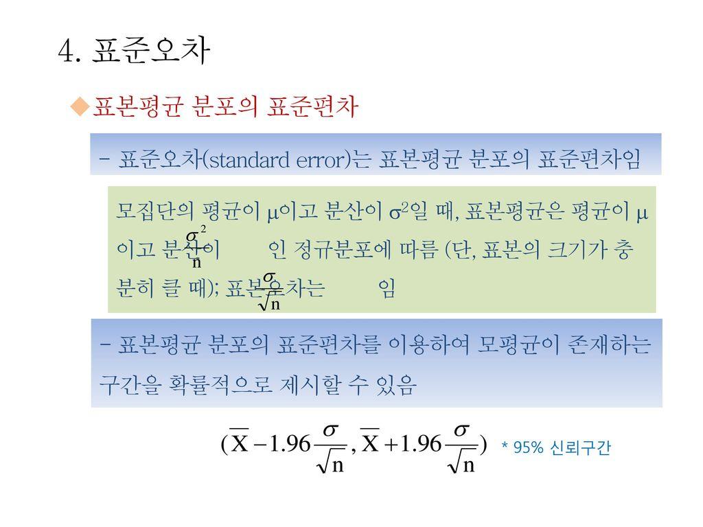 4. 표준오차 표본평균 분포의 표준편차 표준오차(standard error)는 표본평균 분포의 표준편차임