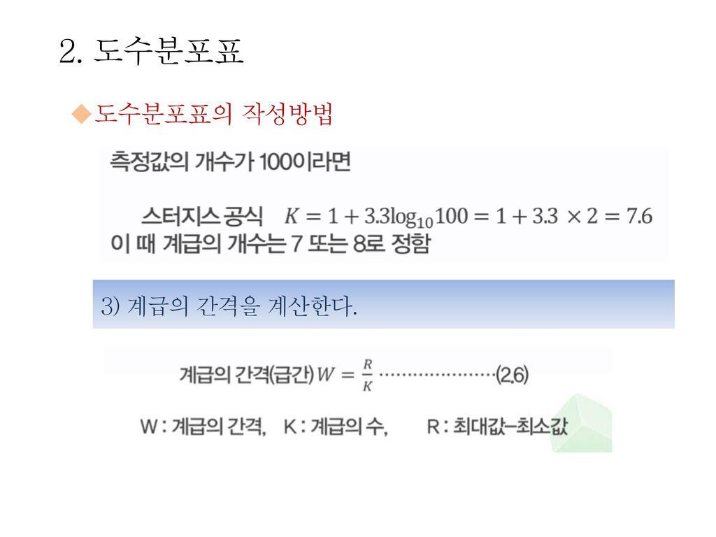 2. 도수분포표 도수분포표의 작성방법 3) 계급의 간격을 계산한다.