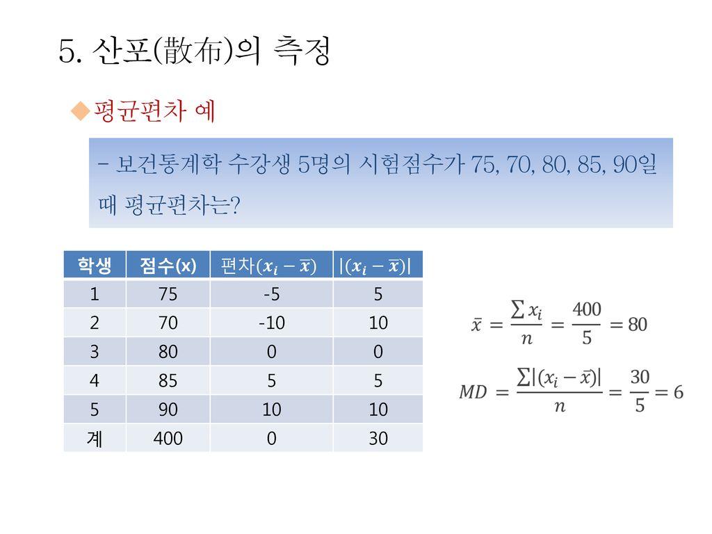 5. 산포(散布)의 측정 평균편차 예. - 보건통계학 수강생 5명의 시험점수가 75, 70, 80, 85, 90일 때 평균편차는 학생. 점수(x) 편차( 𝒙 𝒊 − 𝒙 )