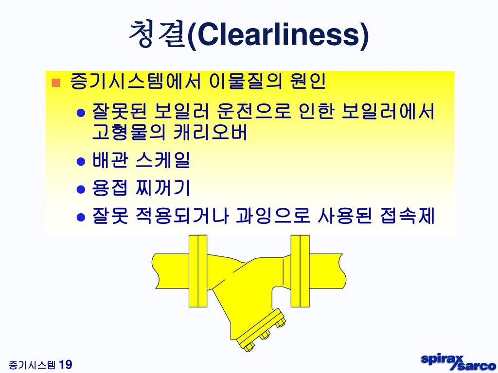 청결(Clearliness) 증기시스템에서 이물질의 원인 잘못된 보일러 운전으로 인한 보일러에서 고형물의 캐리오버 배관 스케일