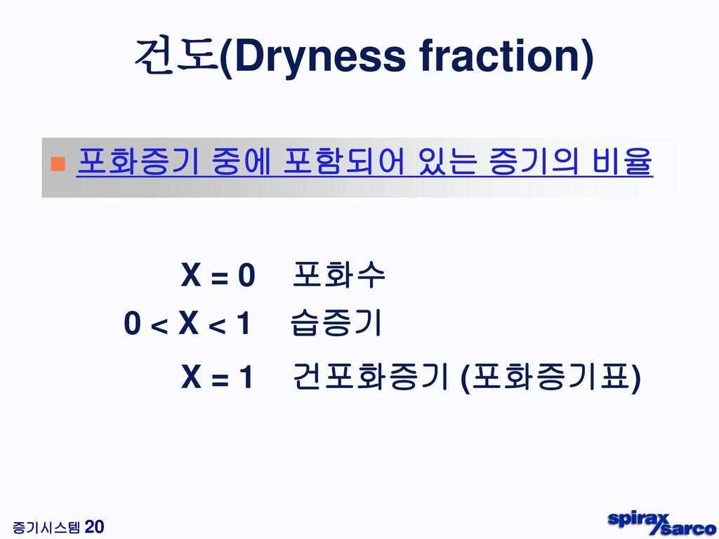 건도(Dryness fraction) 포화증기 중에 포함되어 있는 증기의 비율 X = 0 포화수