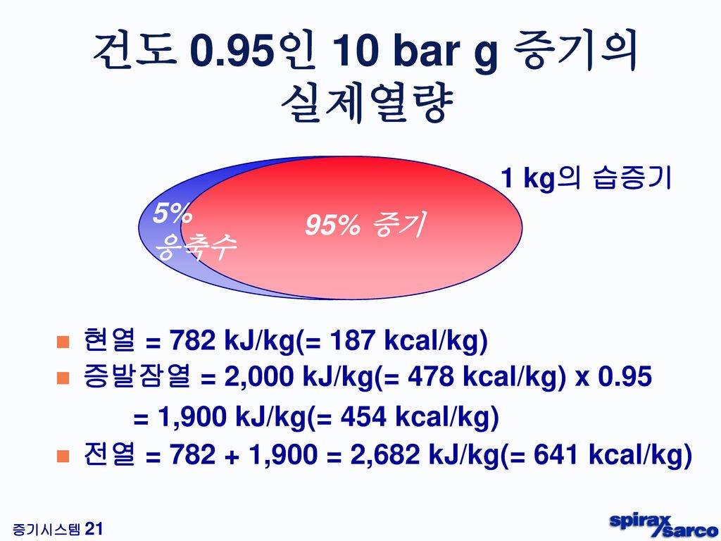 건도 0.95인 10 bar g 증기의 실제열량 1 kg의 습증기 5% 응축수 95% 증기