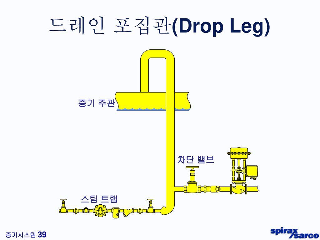 드레인 포집관(Drop Leg) 증기 주관 차단 밸브 스팀 트랩